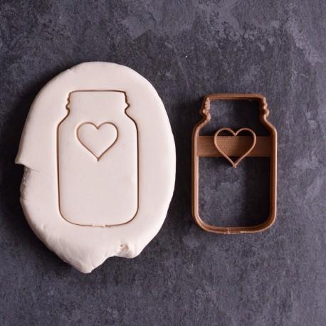 Emporte-pièce en forme de Bocal à Cookies avec Coeur