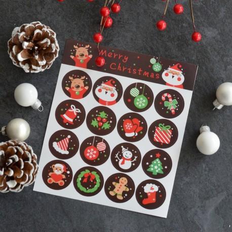 Autocollants pour Sachets pour biscuits et confiserie - Noël