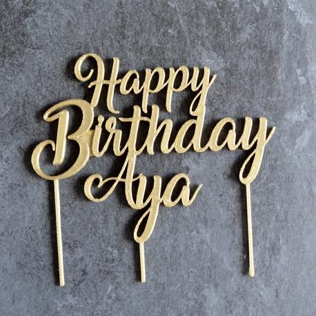 Pleasant Custom Birthday Cake Topper La Boite A Cookies Personalised Birthday Cards Veneteletsinfo