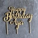 Décoration de gâteau Happy Birthday avec Prénom (personnalisable) - Cake Topper