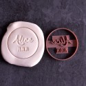 Circle custom cookie cutter Name and date - Personalized
