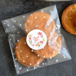 Autocollants pour Sachets pour biscuits et confiserie - Thank You Fleurs