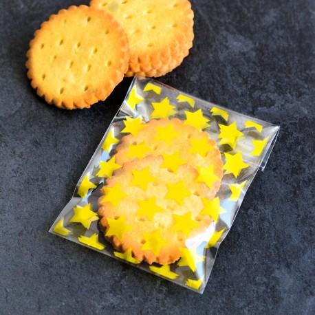 Sachets pour biscuits et confiserie - étoiles dorées 8 x 10 cm
