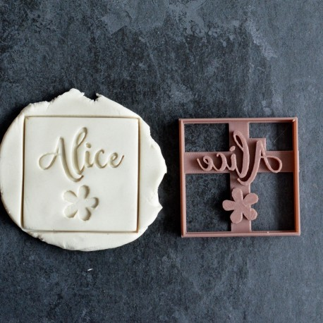 Square Flower cookie cutter with name - Personalized