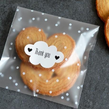 Autocollants pour Sachets pour biscuits et confiserie - Thank You Nuage
