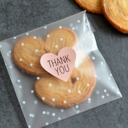 Autocollants pour Sachets pour biscuits et confiserie - Thank You Coeur