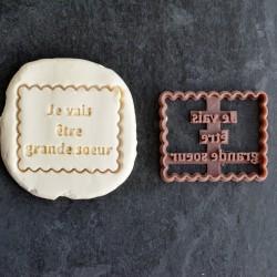 """Petit Beurre """"Je vais être"""" cookie cutter"""