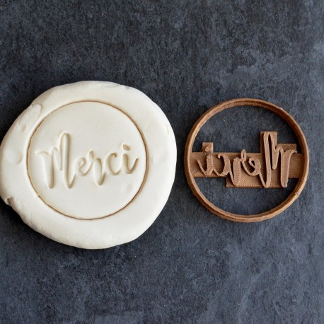 Merci cookie cutter - Circle 6cm