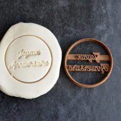 Joyeux anniversaire cookie cutter - Circle 6cm