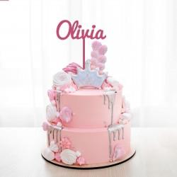 Décoration de gâteau Prénom (personnalisable) XL - Modèle Olivia - Cake Topper
