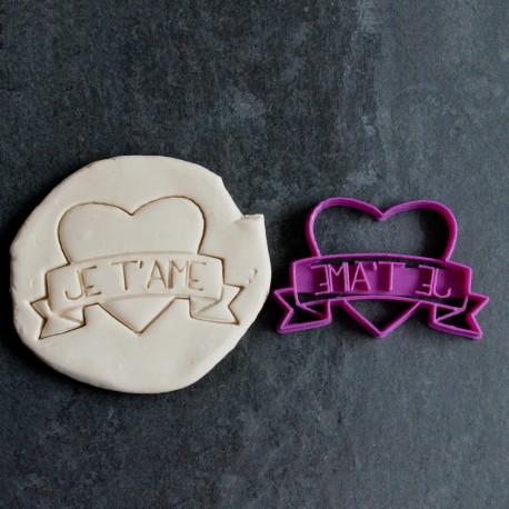 Je t'aime Tattoo heart cookie cutter