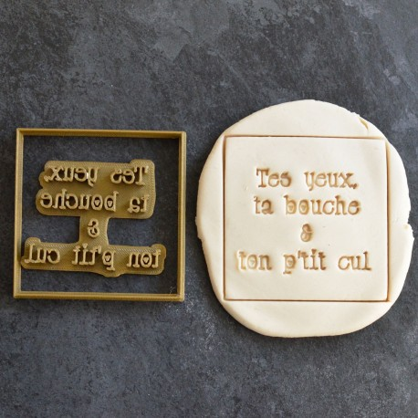 """""""Tes yeux Ta Bouche"""" cookie stamp and cutter"""