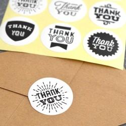 Autocollants pour Sachets pour biscuits et confiserie - Thank You x9