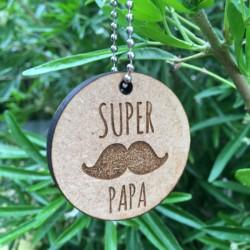 Porte-clé en bois Super Papa Moustache