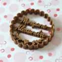 Scalloped circle custom cookie cutter - Personalized - Birthday, Wedding