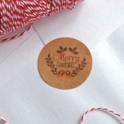 Autocollants pour Sachets pour biscuits et confiserie - Merry Christmas Kraft