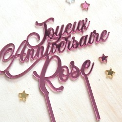 Custom Cake Topper - Gold, Silver or Pink Mirror