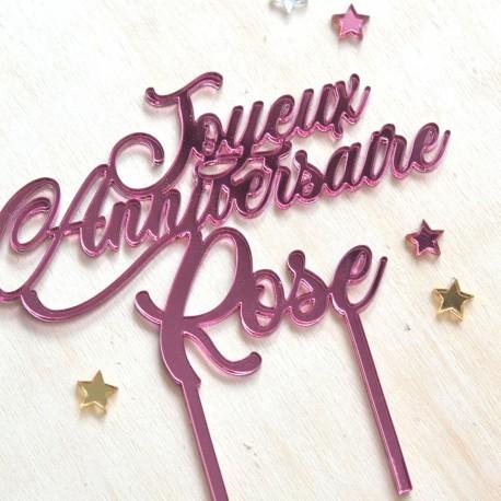 Cake Topper personnalisé - Miroir Or, Argent ou Rose