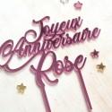 Cake Topper personnalisé - Miroir Argent ou Rose