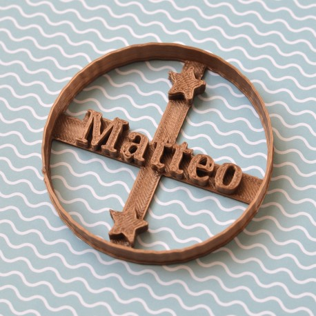 Circle custom cookie cutter Name and Star - Personalized