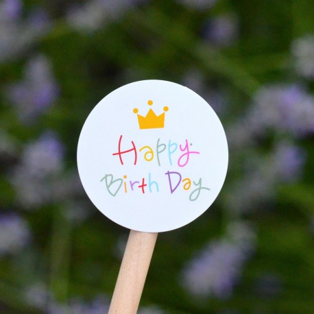 Crown and Happy Birthday stickers for Candy bags