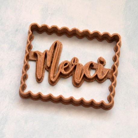 "Petit Beurre ""Merci"" cookie cutter - Thank you cookie cutter"