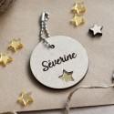Custom Wood Key ring with star
