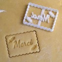 Petit Beurre cookie cutter with Merci and flower - Wedding