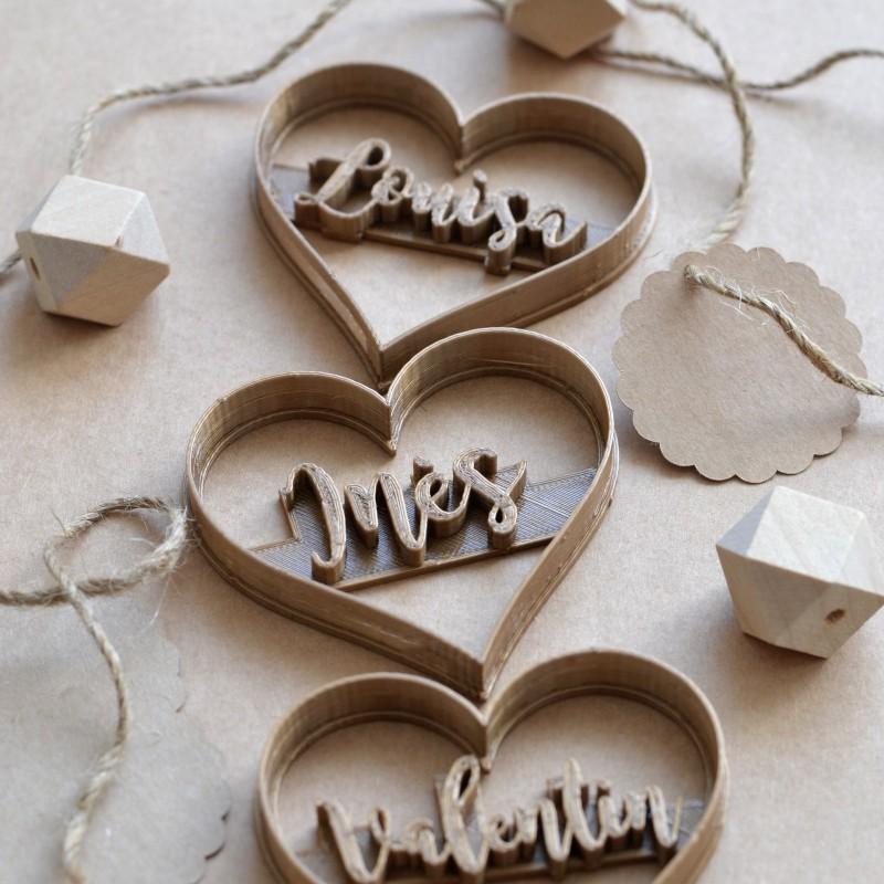Emporte-pièce coeur avec prénom personnalisé