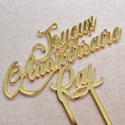 Custom Cake Topper - Gold Mirror