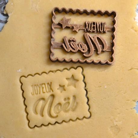 "Petit Beurre ""Joyeux Noël"" cookie cutter with stars"