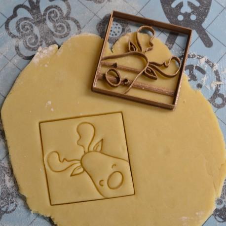 Santa Reindeer cookie cutter - Square