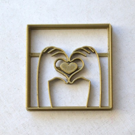Heart with hands cookie cutter - Square