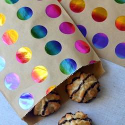 Sachets papier pour biscuits et confiserie - Pois Multicolores