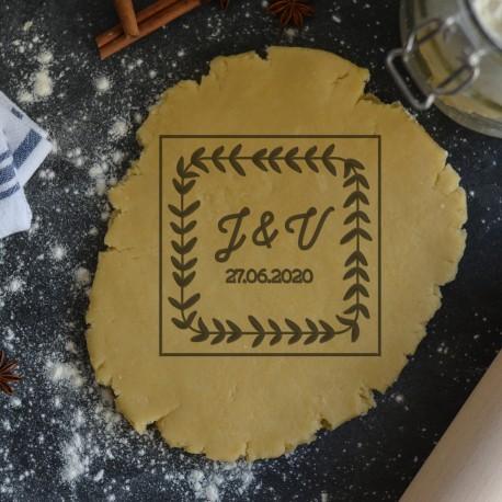 Leaf Wreath square custom cookie cutter - Personalized - Birthday, Wedding