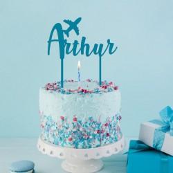 Décoration de gâteau Prénom (personnalisable) Avion - Cake Topper