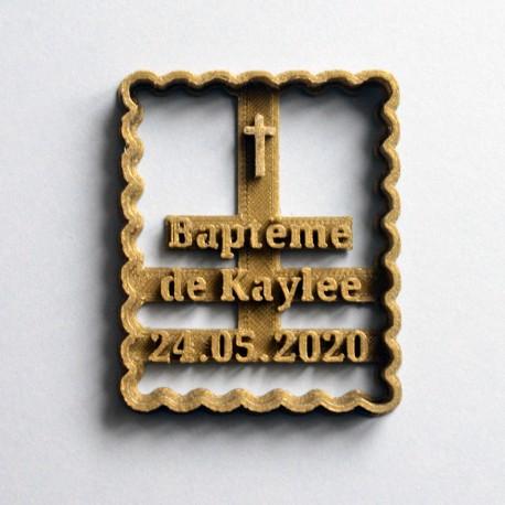 Emporte-pièce Petit Beurre Prénom et Croix (Personnalisable) Baptême V2