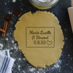 Emporte-pièce Petit Beurre Prénoms et Coeur (Personnalisable) Mariage