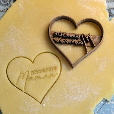 Bonne fête Maman Heart cookie cutter - Personalized with name