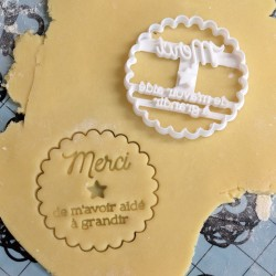 """Merci Maitresse"" cookie cutter - Teacher's Day"