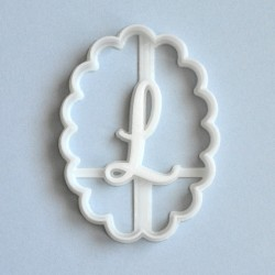 Scalloped oval custom cookie cutter - Personalized - monogram