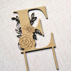 Flower Letter Wood Cake Topper