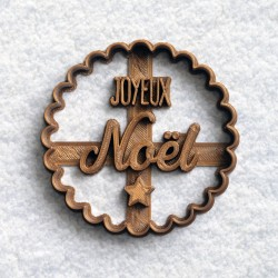 Joyeux Noël cookie cutter - scalloped circle