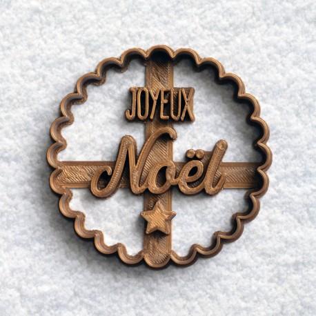 Joyeux Noël cookie cutter - scalloped circle