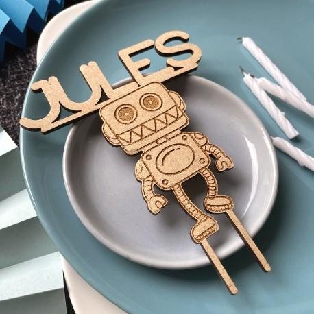 Cake Topper Robot avec prénom en bois