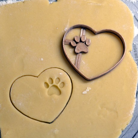 Heart Dog Paw cookie cutter