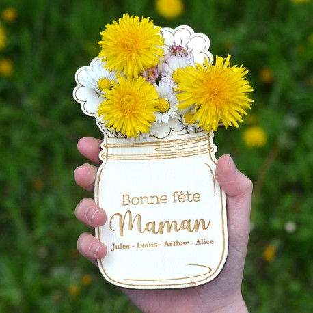 Wood Mason Jar with Flower - Mother's day gift