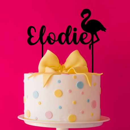 Décoration de gâteau personnalisé Flamant Rose - Cake Topper