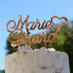 Cake Topper Mariage avec prénoms et coeur - Acrylique Miroir