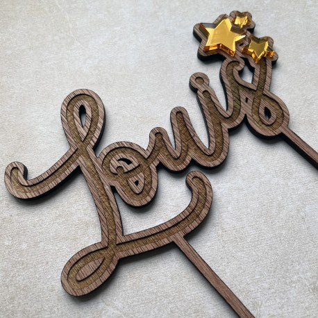 Stars and name Custom Cake Topper - acrylic or wood